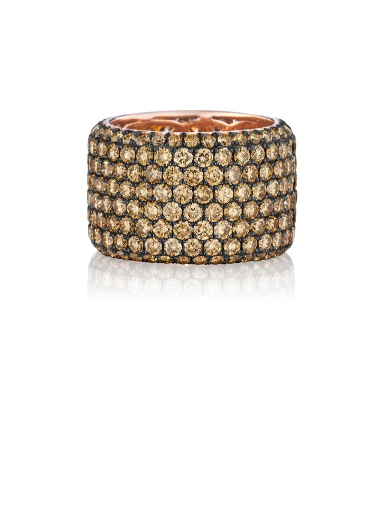 Henri Daussi rose gold eight row pave brown diamond wedding band R20-6 Richter & Phillips Jewelers Cincinnati, OH