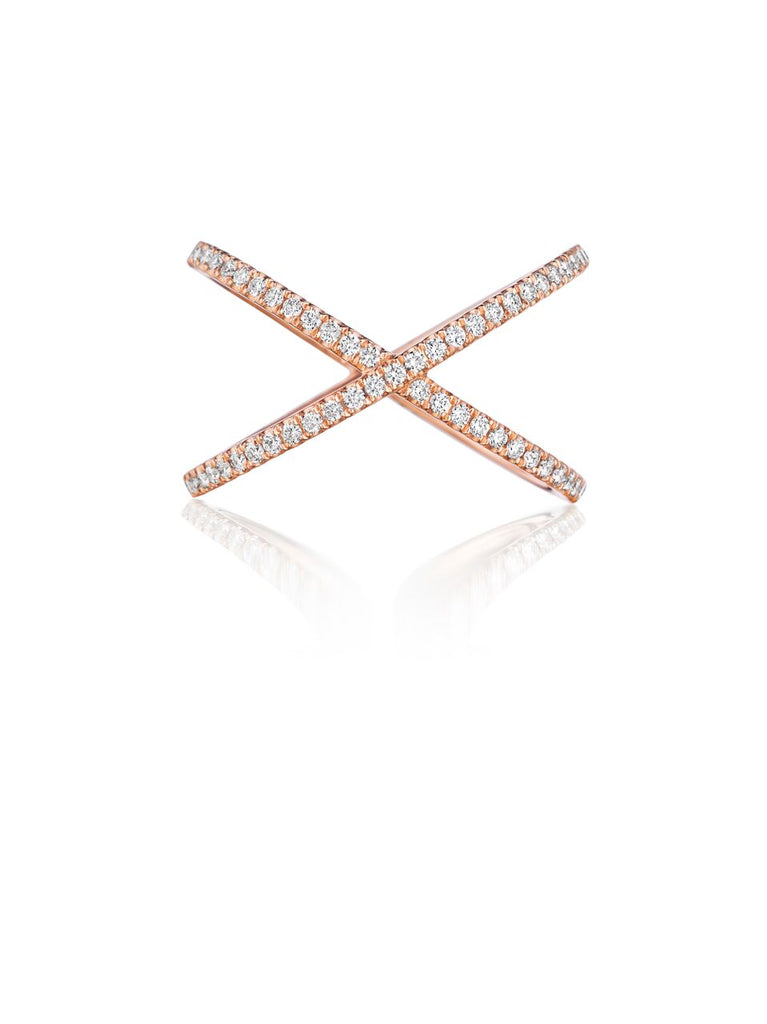 Henri Daussi Rose Gold Criss-Cross Diamond Band R38-2 Richter & Phillips Jewelers Cincinnati OH