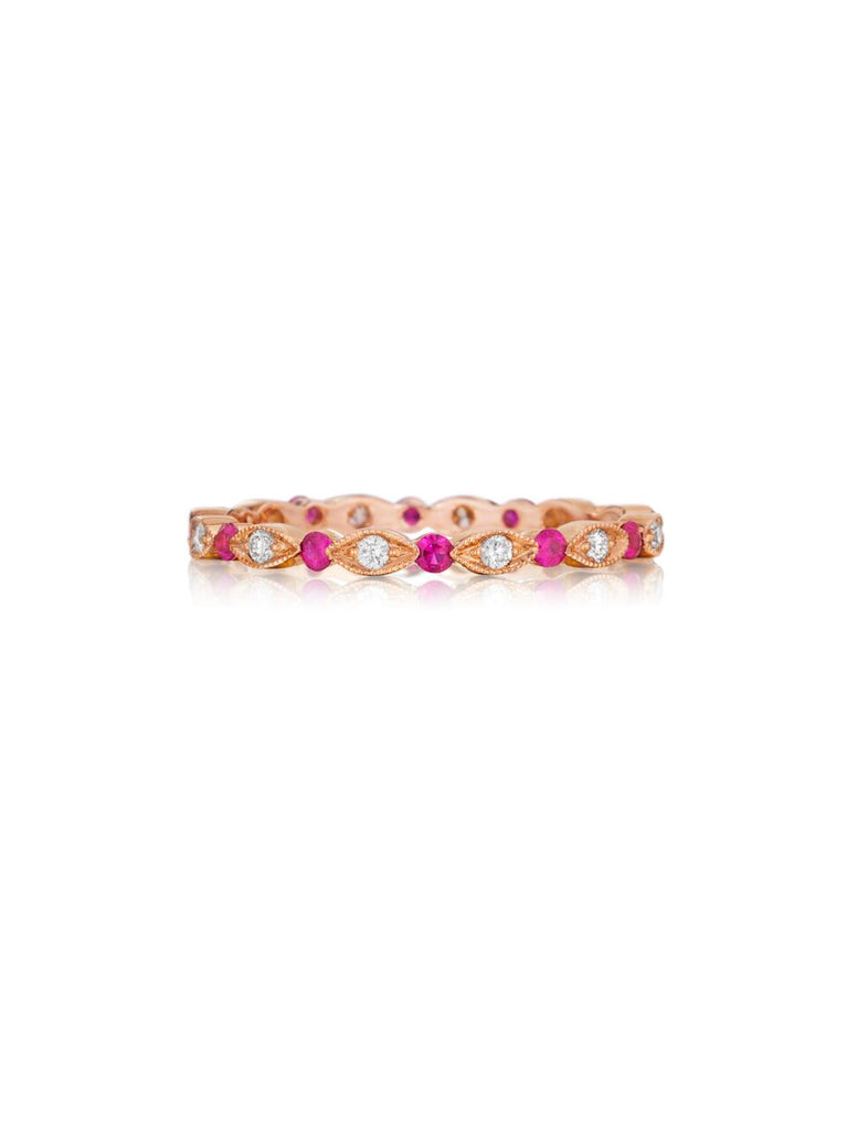 Henri Daussi rose gold bead set ruby & diamond milgrain wedding band R26-8 Richter & Phillips Jewelers Cincinnati OH