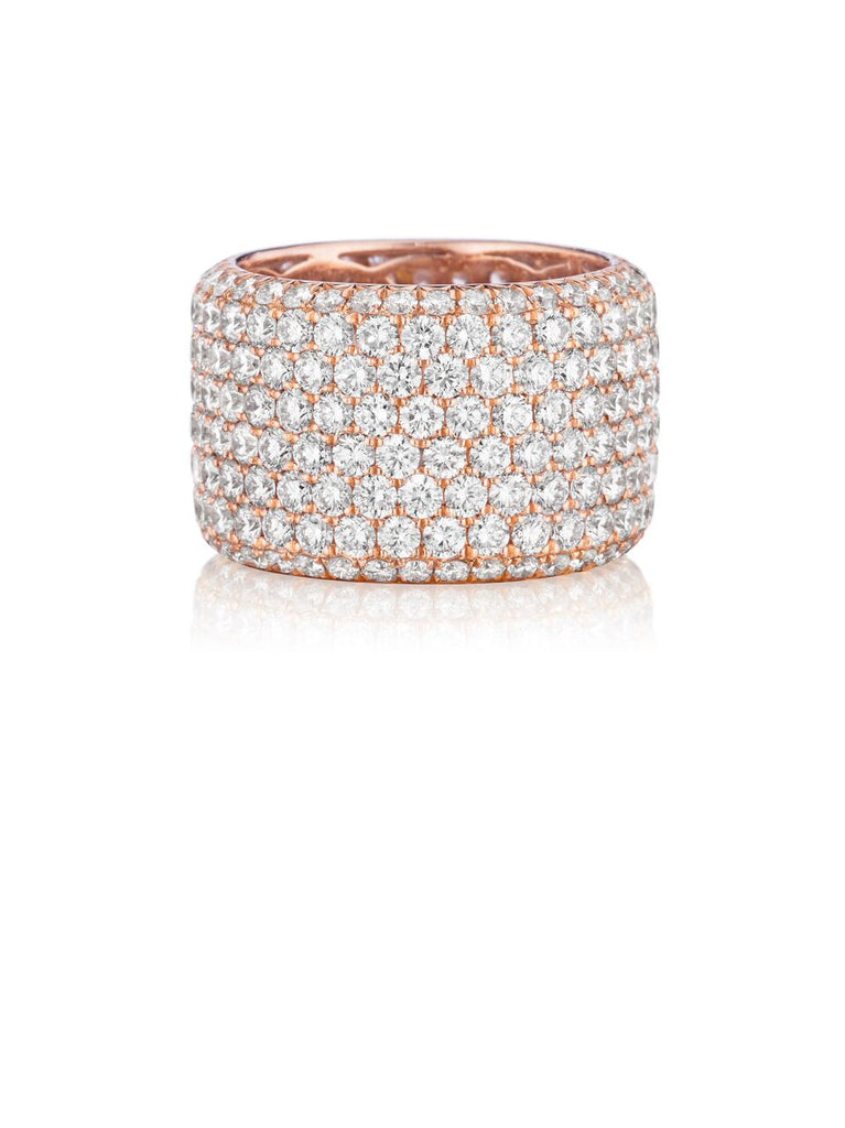 Henri Daussi rose gold eight row pave diamond wedding band R20-7 Richter & Phillips Jewelers Cincinnati, OH