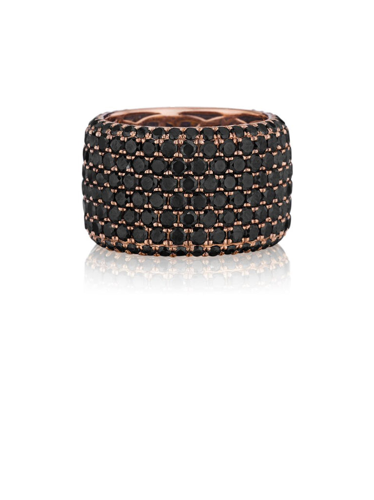 Henri Daussi rose gold eight row pave black diamond wedding band R20-5 Richter & Phillips Jewelers Cincinnati OH