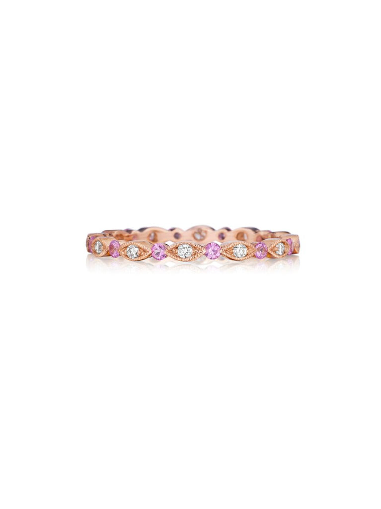 Henri Daussi bead set pink sapphire & diamond milgrain wedding band R26-7 Richter & Phillips Jewelers Cincinnati OH