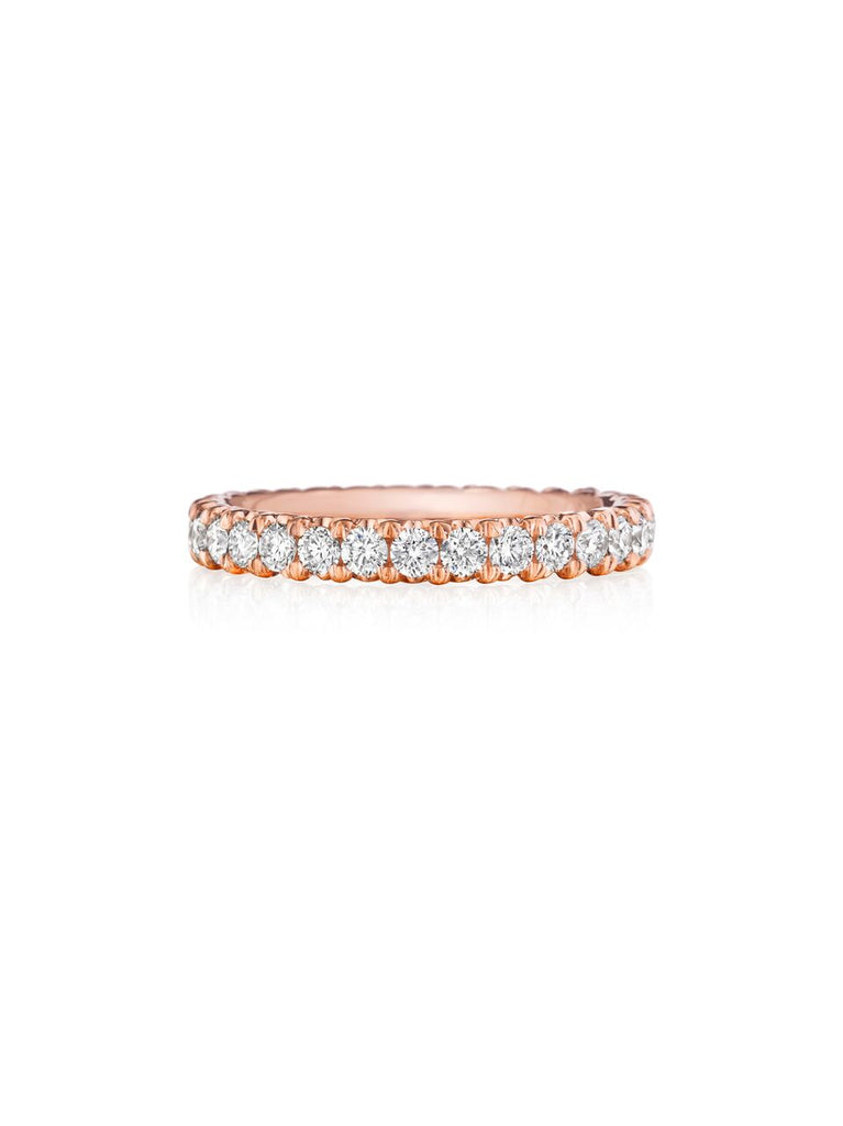 Henri Daussi rose gold prong set diamond wedding band R39-2 Richter & Phillips Jewelers Cincinnati OH