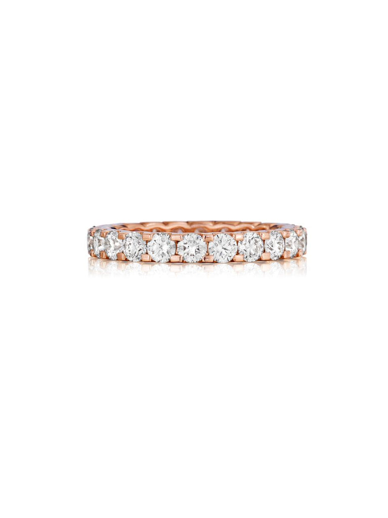 Henri Daussi rose gold prong set diamond eternity band R13-7 E available at Richter & Phillips Jewelers Downtown Cincinnati OH
