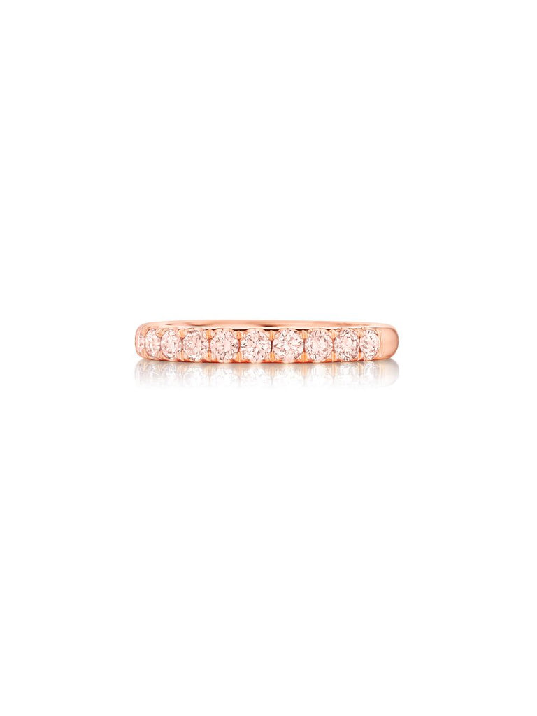 Henri Daussi rose gold pink diamond prong set wedding band R2-2 available at Richter & Phillips Jewelers Downtown Cincinnati OH