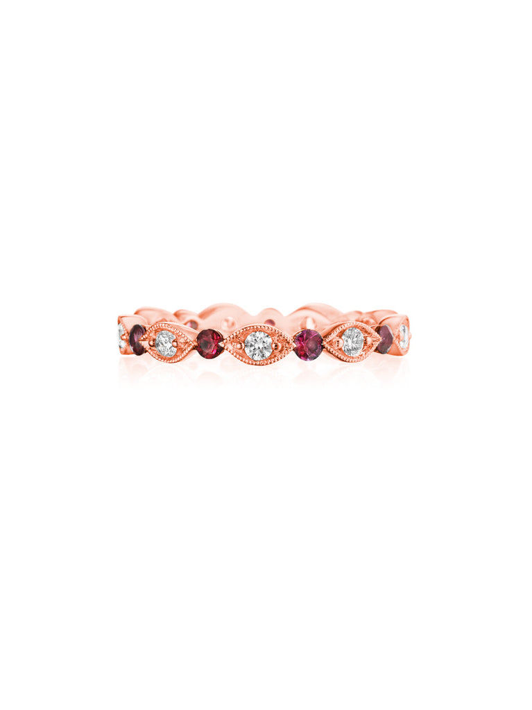 Henri Daussi rose gold bead set diamond & ruby milgrain wedding band R37-8 Richter & Phillips Jewelers Cincinnati OH