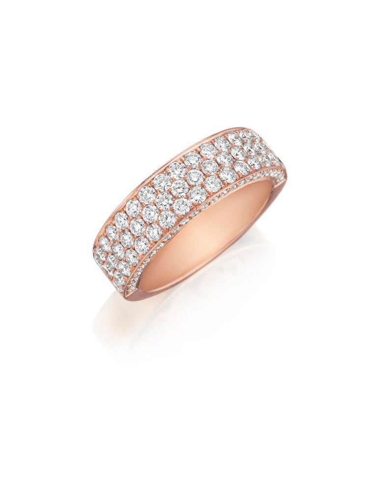 Henri Daussi rose gold triple row pave diamond wedding band R19-7 Richter & Phillips Jewelers Cincinnati, OH
