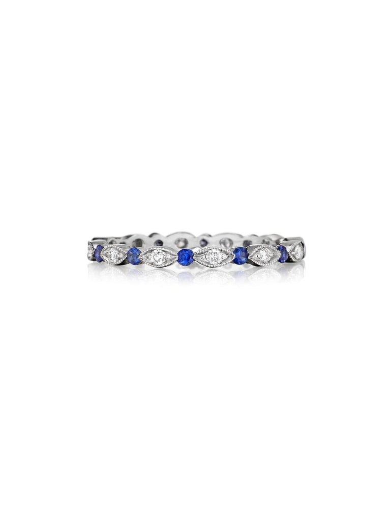 Henri Daussi bead set sapphire & diamond milgrain wedding band R26-6 Richter & Phillips Jewelers Cincinnati OH