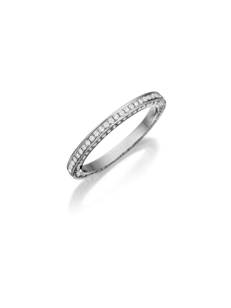 Henri Daussi three sided pave set diamond wedding band R5 available at Richter & Phillips Jewelers Downtown Cincinnati OH