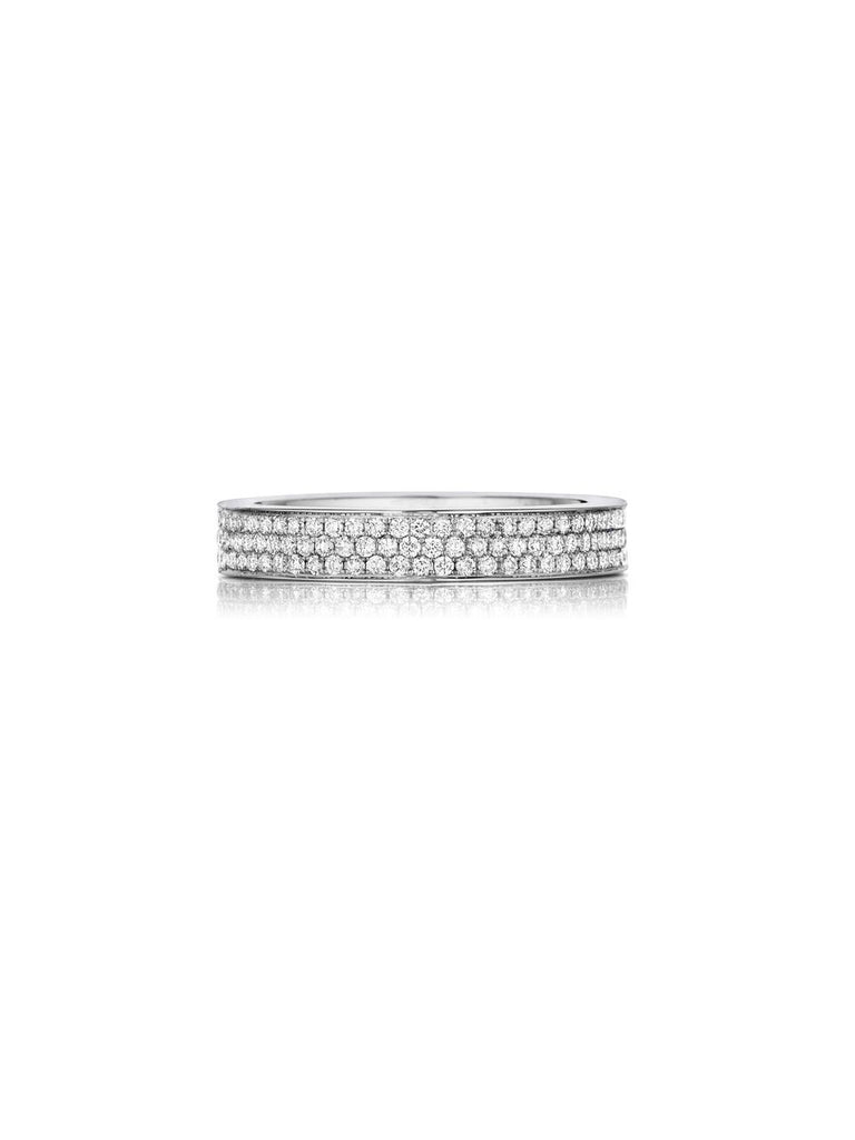 Henri Daussi triple row pave diamond wedding band R11 available at Richter & Phillips Jewelers Downtown Cincinnati OH