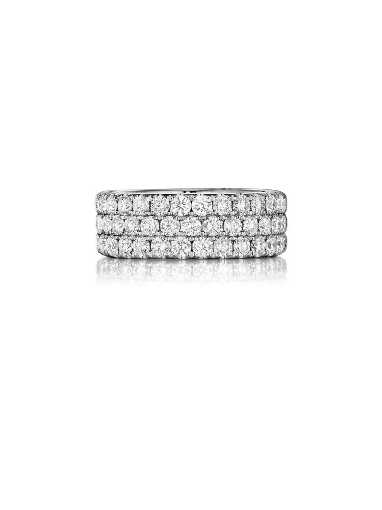 Henri Daussi triple row pave diamond wedding band r18 available at Richter & Phillips Jewelers Downtown Cincinnati OH