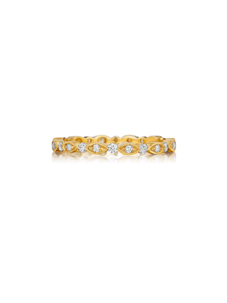 Henri Daussi yellow gold bead set diamond milgrain band R26-3 Richter & Phillips Jewelers Cincinnati OH