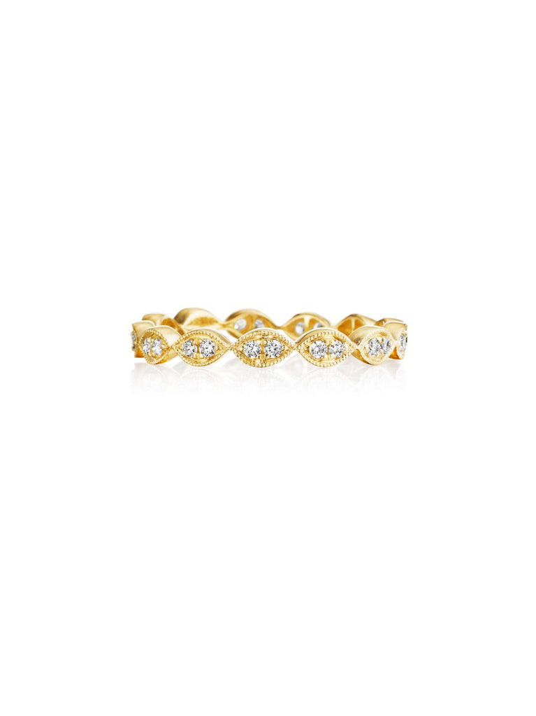 Henri Daussi yellow gold bead set diamond milgrain wedding band R42-3 Richter & Phillips Jewelers Cincinnati OH