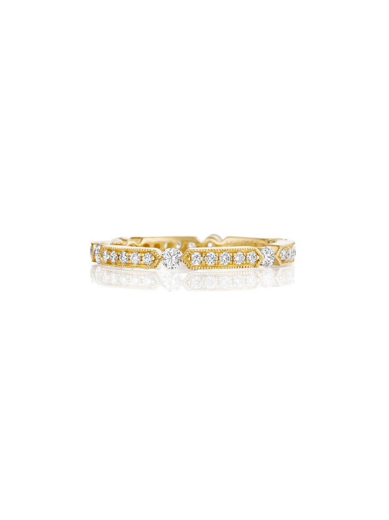 Henri Daussi yellow gold bead set diamond milgrain wedding band R44-3 Richter & Phillips Jewelers Cincinnati OH