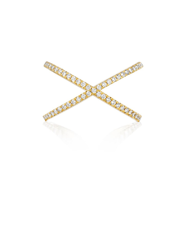 Henri Daussi Yellow Gold Criss-Cross Diamond Band R38-3 Richter & Phillips Jewelers Cincinnati OH