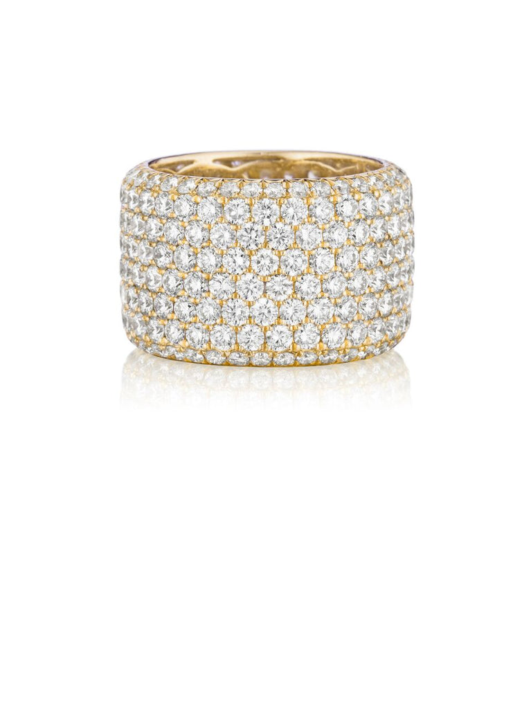 Henri Daussi yellow gold eight row pave diamond wedding band R20-8 Richter & Phillips Jewelers Cincinnati, OH