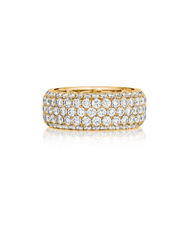 Henri Daussi yellow gold five row pave set diamond band R22-8 Richter & Phillips Jewelers Cincinnati OH