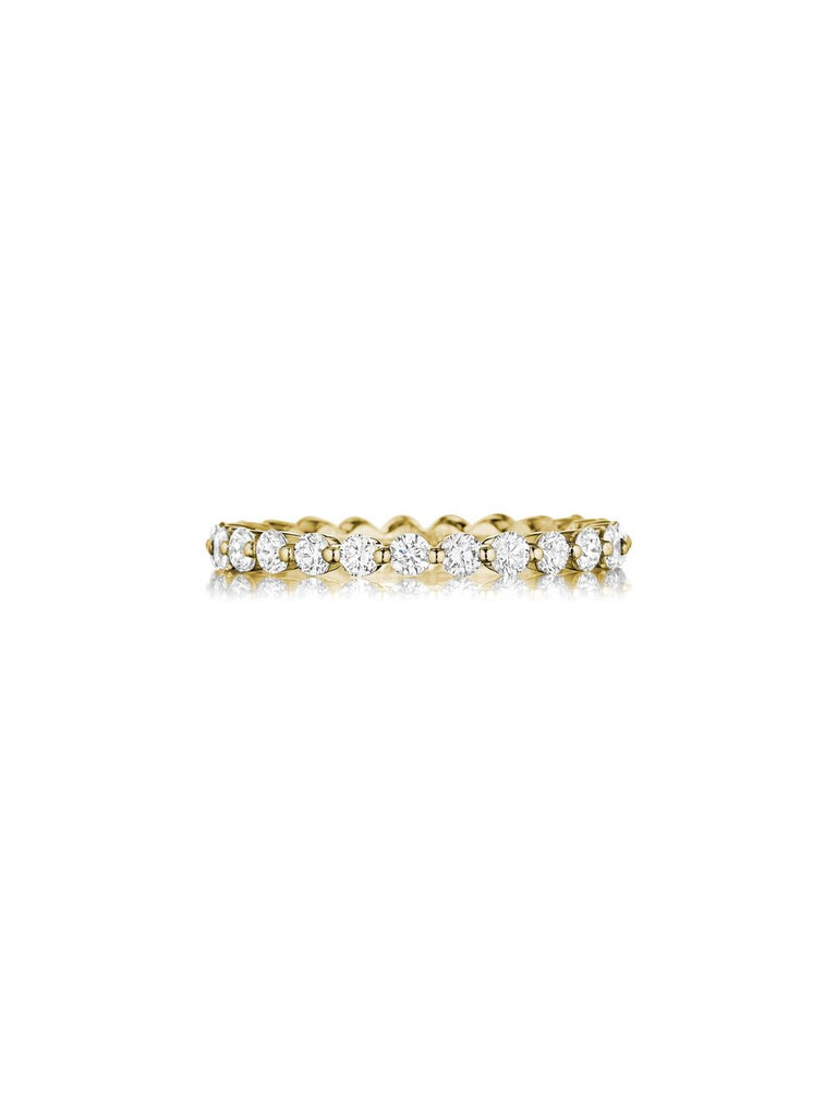 Henri Daussi yellow gold shared prong diamond wedding band R6-8 available at Richter & Phillips Jewelers Downtown Cincinnati OH