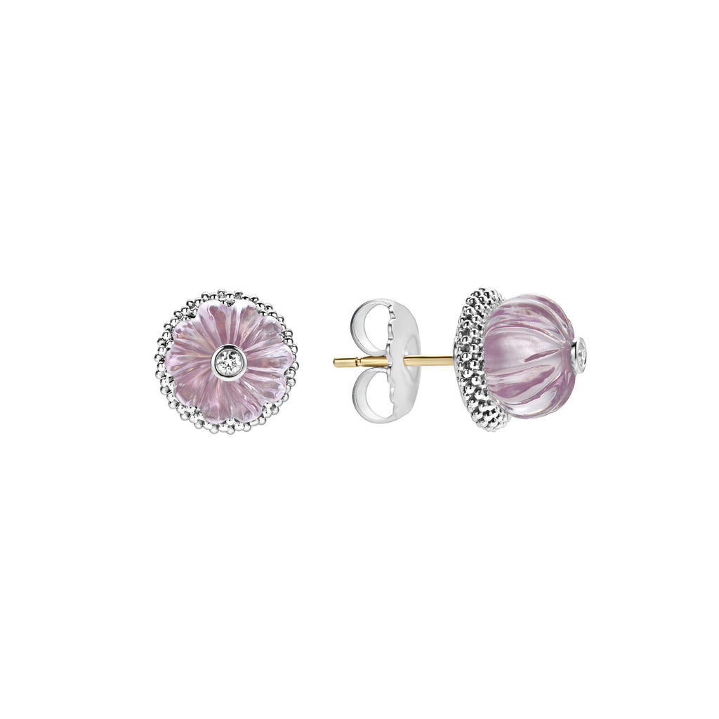 Lagos CAVIAR FOREVER Rose de France stud earrings 01-81649-ra