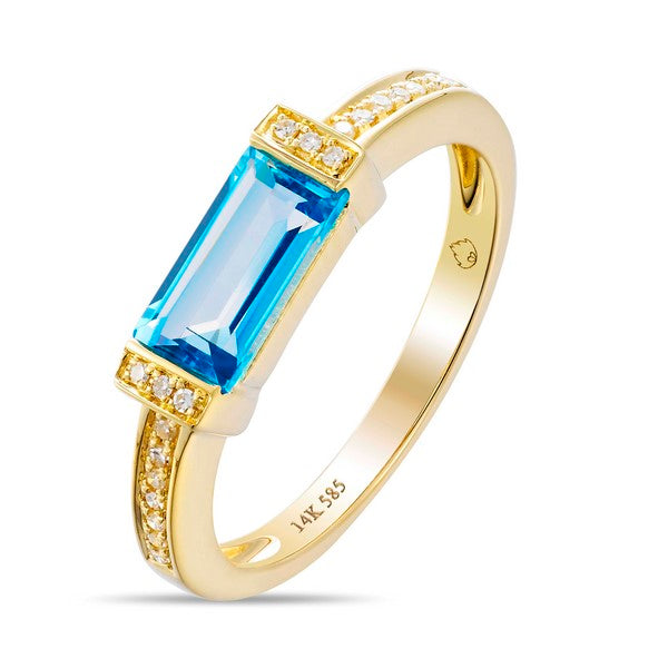 Luvente yellow gold blue topaz and diamond ring R02962-BT.Y Richter & Phillips Jewelers Cincinnati OH