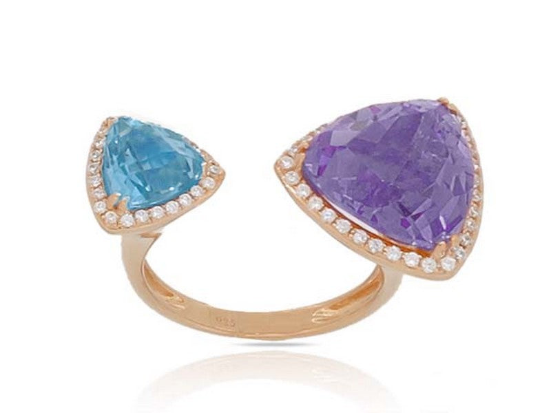 Luvente rose gold blue topaz, amethyst and diamond ring R02651-MC.R Richter & Phillips Jewelers Cincinnati OH