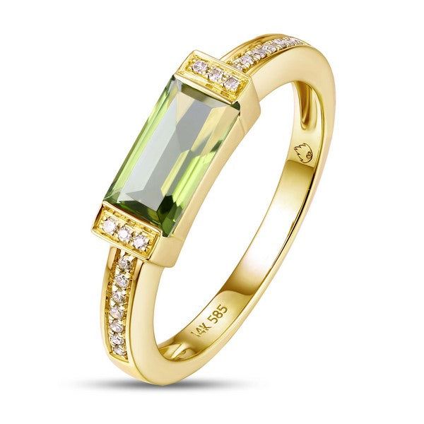 Luvente yellow gold peridot and diamond ring R02962-PDT.Y Richter & Phillips Jewelers Cincinnati OH