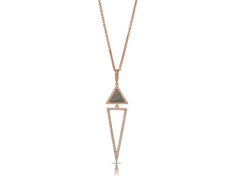 luvente rose gold mother of pearl and diamond geometric necklace N01631-WMOP.R Richter & Phillips Jewelers Cincinnati, OH