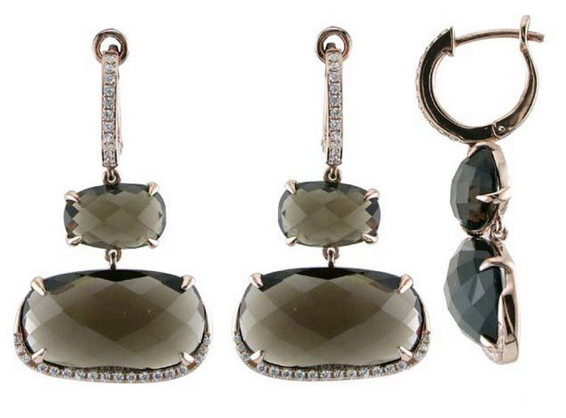 Luvente Smokey Quartz and Diamond Drop earrings E01885-SMTZ.R Richter & Phillips Jewelers Cincinnati OH