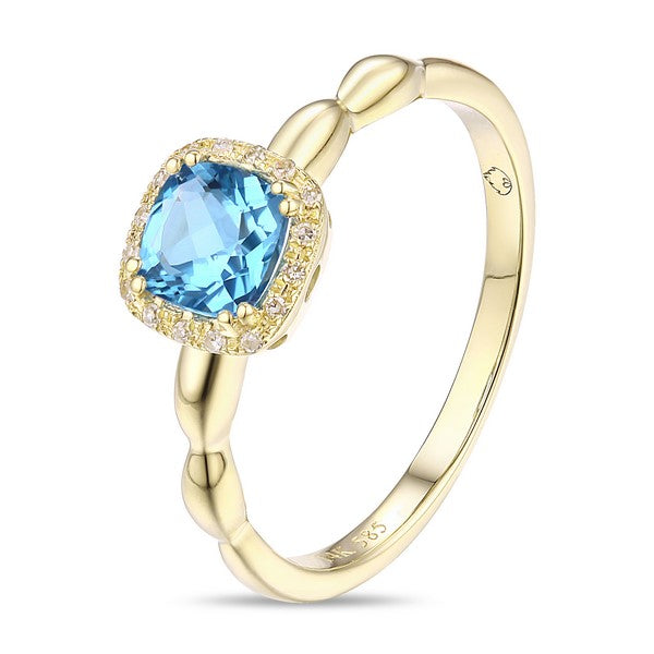 Luvente yellow gold blue topaz and diamond ring R01520-BT.Y Richter & Phillips Jewelers Cincinnati OH