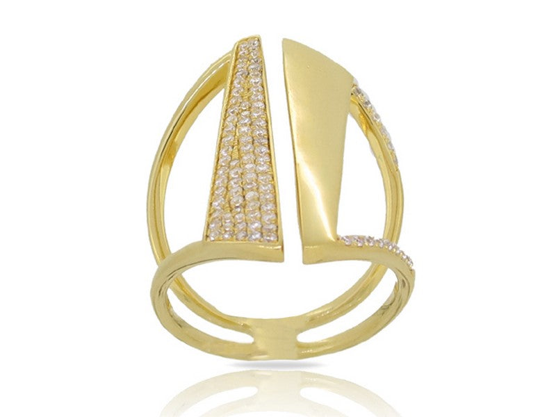 Luvente yellow gold geometric diamond ring R02584-RD.Y Richter & Phillips Jewelers Cincinnati, OH