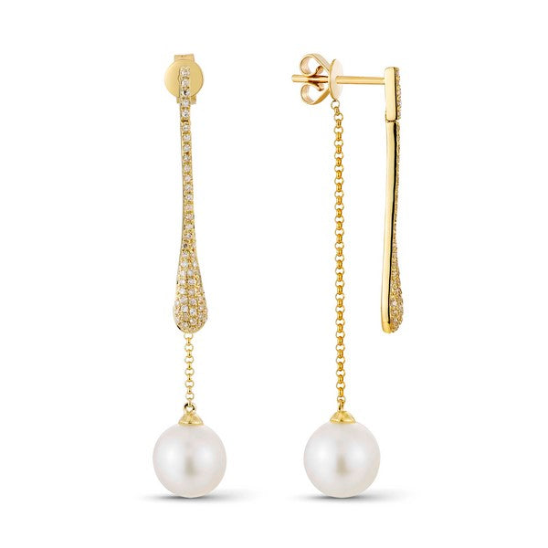 Luvente Yellow Gold Pearl and Diamond Drop earrings E02316-PRL.Y Richter & Phillips Jewelers Cincinnati, OH