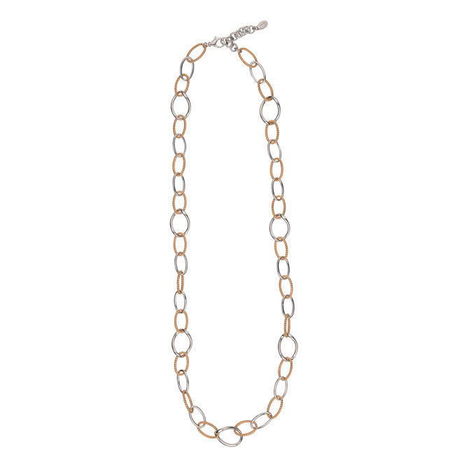 "30"" STERLING SILVER & GOLD OVAL LINK NECKLACE"