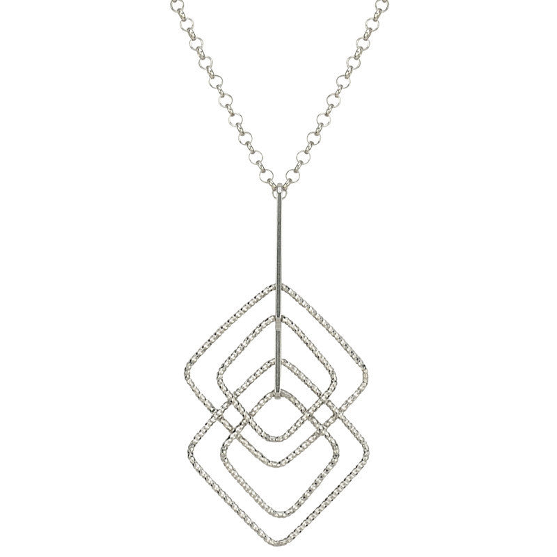 STERLING SILVER MAZE SQUARE NECKLACE