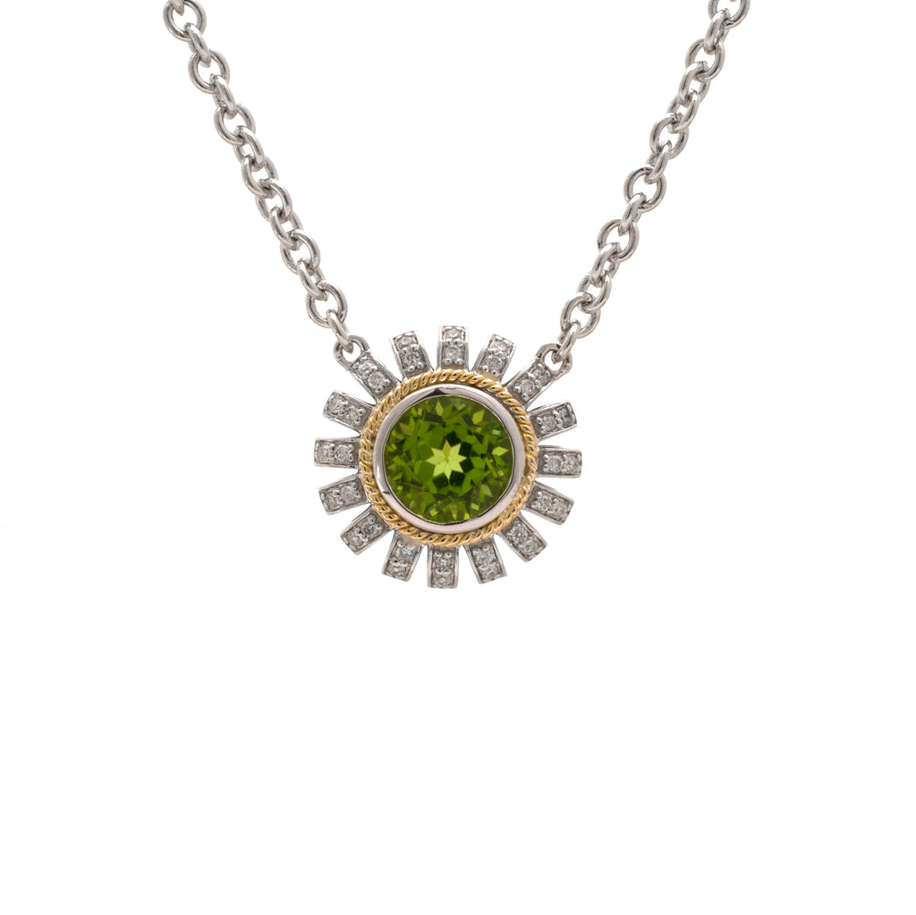 Andrea Candela Peridot and Diamond Flower pendant necklace ACN152/17-PD