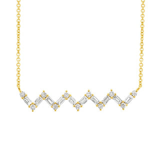 Shy Creation Yellow Gold Diamond Baguette Necklace SC55003983 Richter & Phillips Jewelers Cincinnati OH
