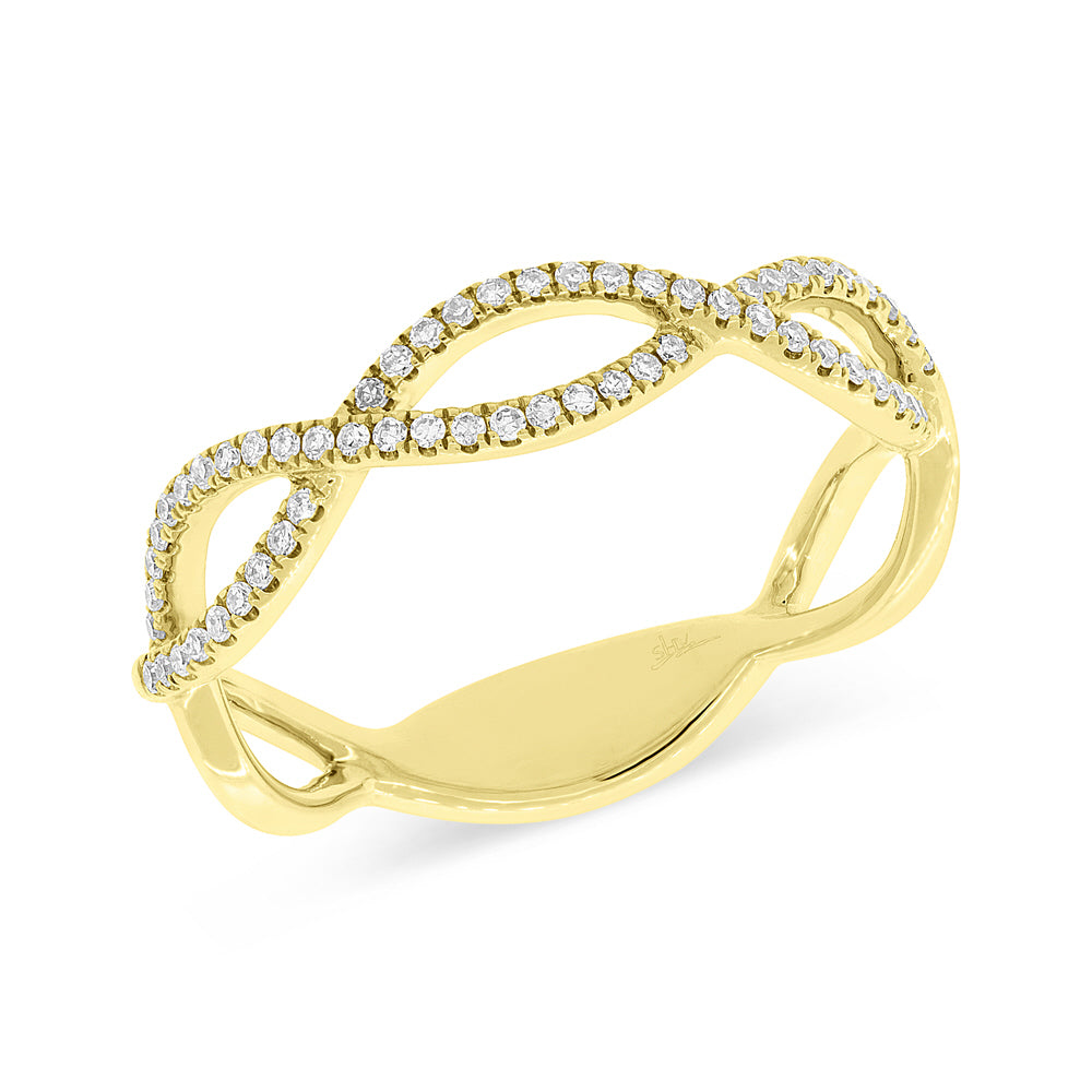 Shy Creation Yellow Gold diamond twist ring SC55004455 Richter & Phillips Jewelers Cincinnati OH