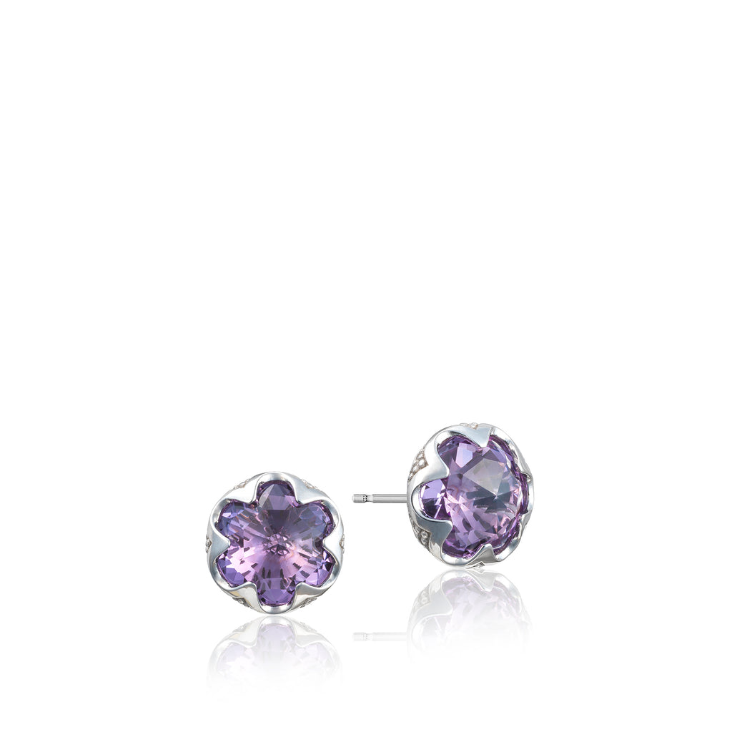 Tacori Crescent Bezel Earrings featuring Amethyst SE20801 Richter & Phillips Jewelers Cincinnati OH