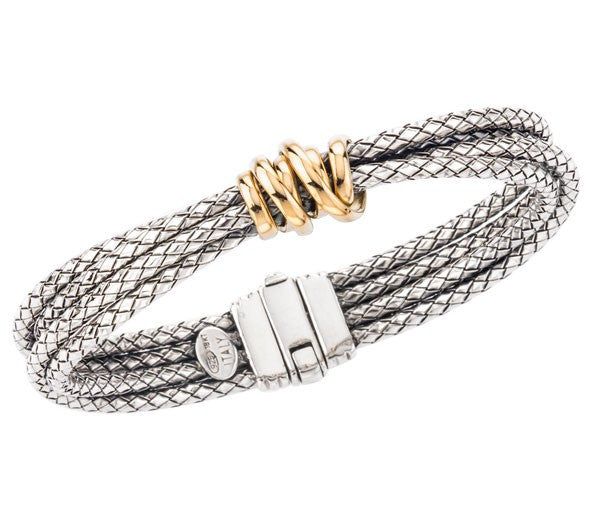 Sterling & 18K Multi-Strand Bangle