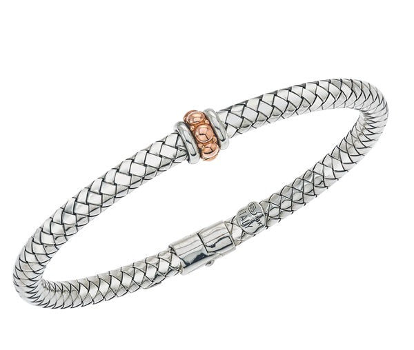 Sterling  & Rose Gold Basketweave Bangle Bracelet