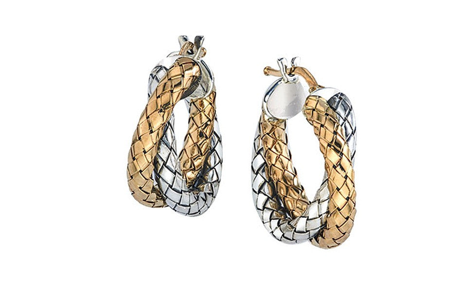 Sterling Silver and Gold Crossover Hoop Earrings