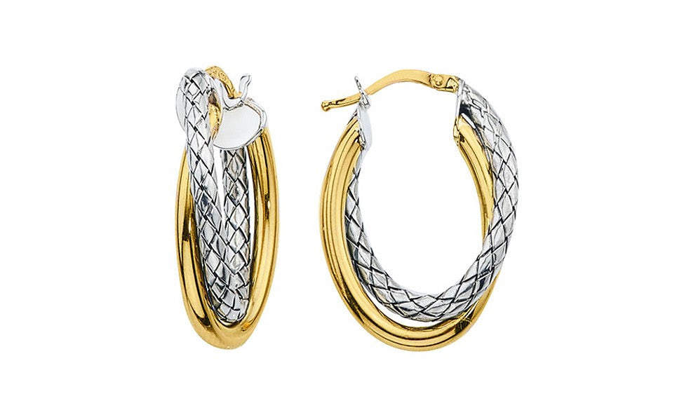 Sterling Silver and Gold Crossover Oval Hoop Earrings
