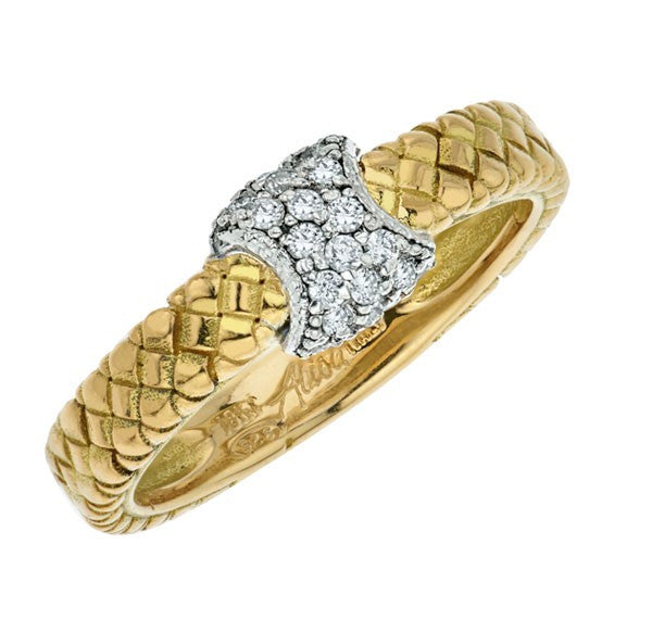18K Yellow Gold Basketweave Diamond ring by Alisa VHR1480D