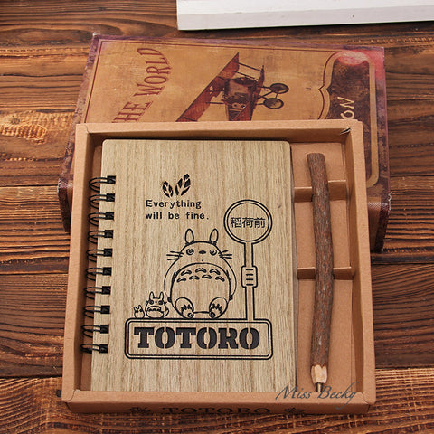 Kawaii Totoro Wooden Notebook/Diary