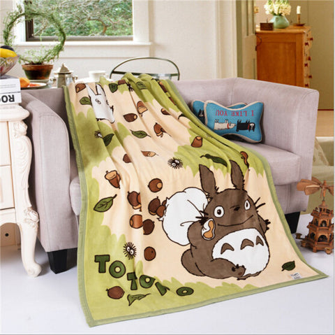 Totoro Acorn Fleece Throw Blanket 100cm x 140cm