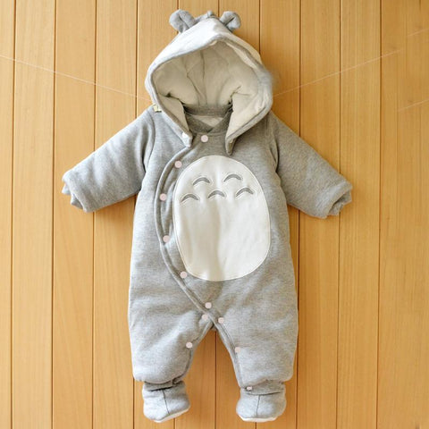 Thick Hooded Warm Baby Autumn and Winter Totoro Romper