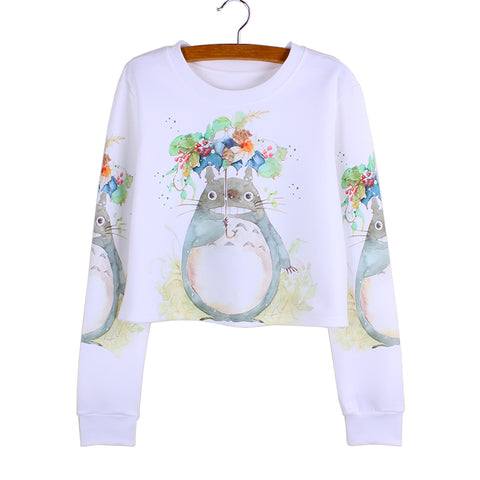 Totoro Flower Umbrella Crop Top Full Sleeve Shirt