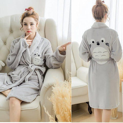 Totoro Winter Flannel Long Sleeve Robe