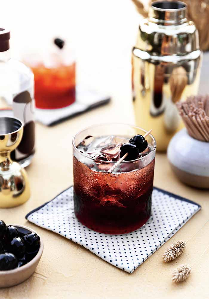 Cherry and Gin Negroni Fizz