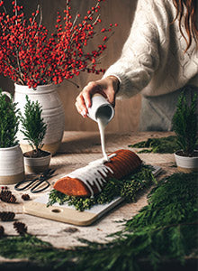 Scandinavian Almond Cake pouring frosting