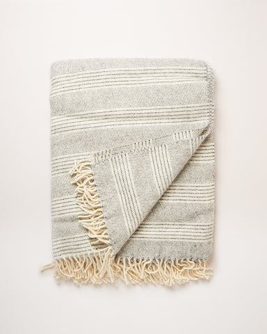 Stripe Alpaca Wool Throw